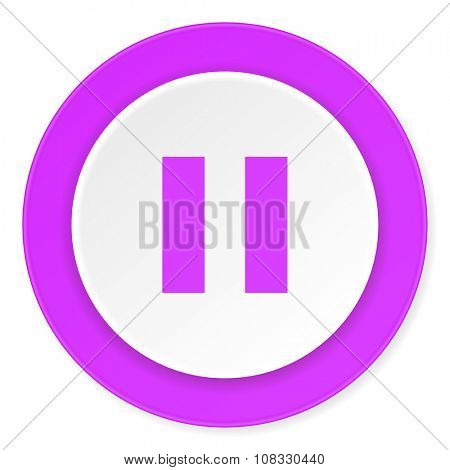 pause violet pink circle 3d modern flat design icon on white background