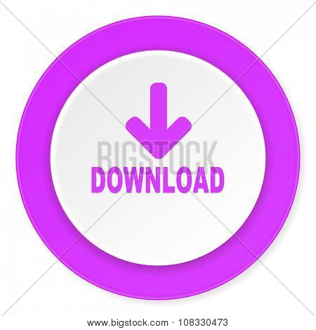 download violet pink circle 3d modern flat design icon on white background
