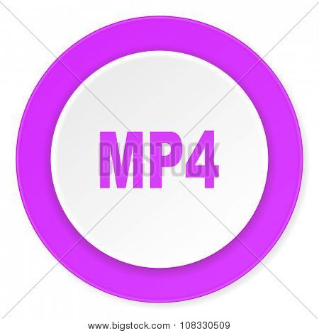 mp4 violet pink circle 3d modern flat design icon on white background
