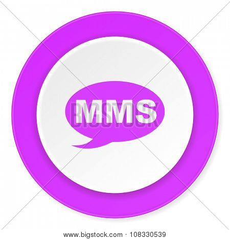 mms violet pink circle 3d modern flat design icon on white background
