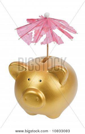 Piggy Bank With Tattered Umbrella