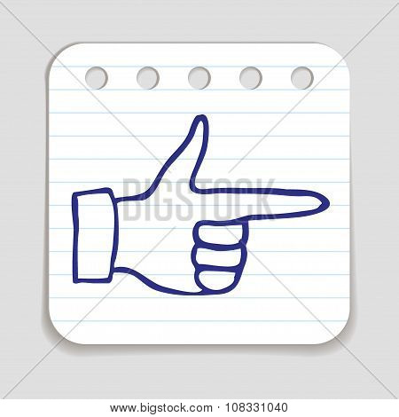 Doodle Pointing Finger icon.