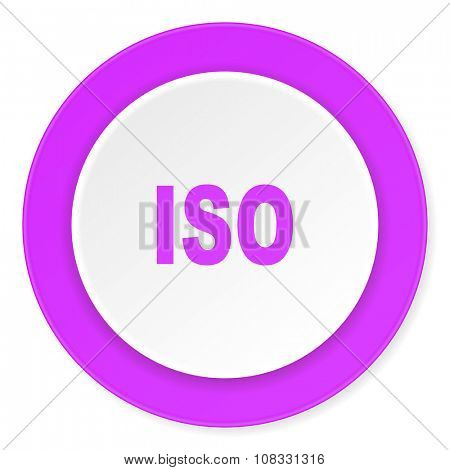 iso violet pink circle 3d modern flat design icon on white background