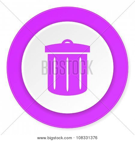 recycle violet pink circle 3d modern flat design icon on white background