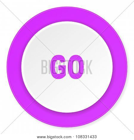 go violet pink circle 3d modern flat design icon on white background