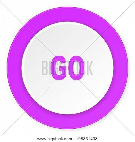 go violet pink circle 3d modern flat design icon on white background