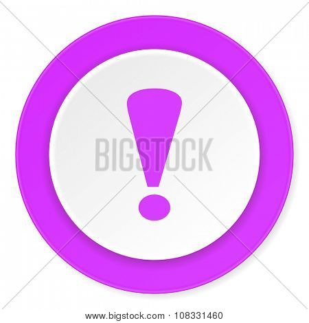 exclamation sign violet pink circle 3d modern flat design icon on white background