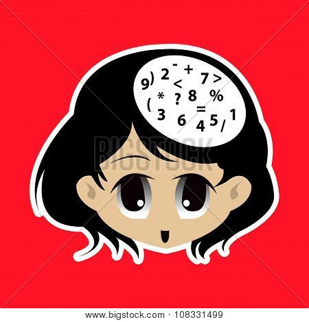 Vector Cute Girl With Number