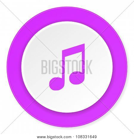 music violet pink circle 3d modern flat design icon on white background