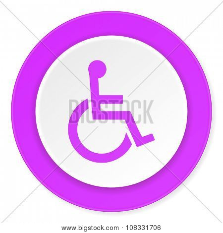 wheelchair violet pink circle 3d modern flat design icon on white background