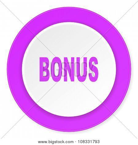 bonus violet pink circle 3d modern flat design icon on white background