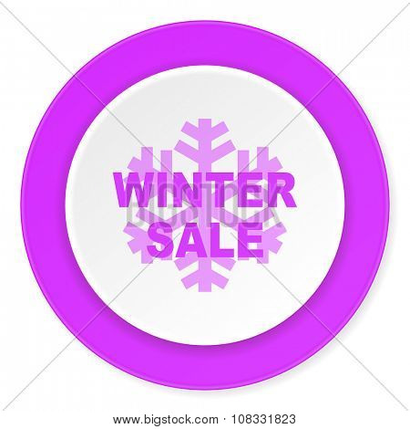 winter sale violet pink circle 3d modern flat design icon on white background