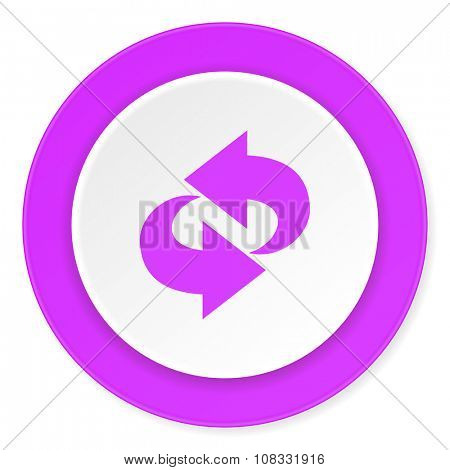 rotation violet pink circle 3d modern flat design icon on white background