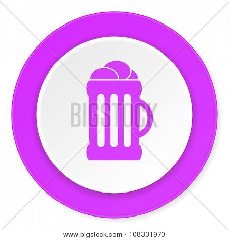 beer violet pink circle 3d modern flat design icon on white background