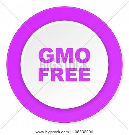 gmo free violet pink circle 3d modern flat design icon on white background