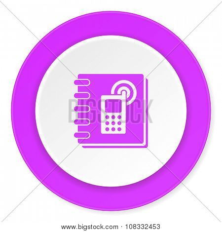 phonebook violet pink circle 3d modern flat design icon on white background
