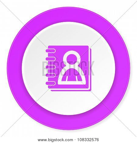 address book violet pink circle 3d modern flat design icon on white background