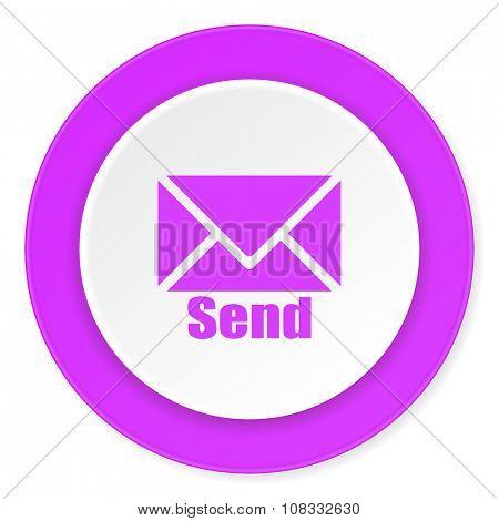 send violet pink circle 3d modern flat design icon on white background