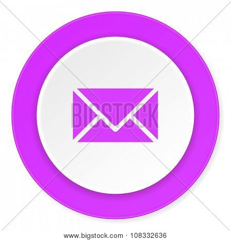 email violet pink circle 3d modern flat design icon on white background