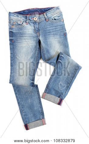 Blue jeans isolated on white background