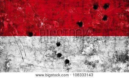 Flag of Monaco, Monacan flag painted on metal texture with bullet holes