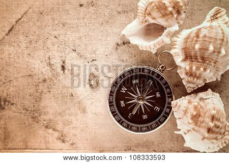 Compass And Sea Shells