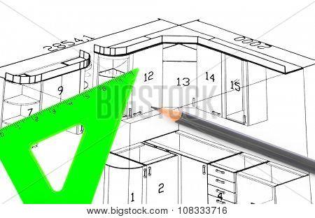 Kitchen plan isolated on white background