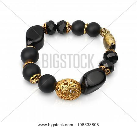 Jewelry Bracelet With Black Stones Isolated On White, Path