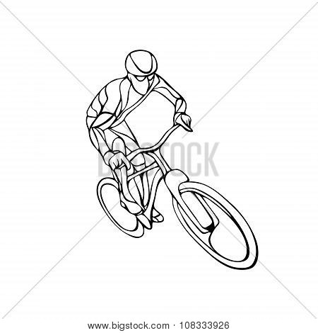 Abstract Silhouette Of Bicyclist. Black Bike Cyclist Logo