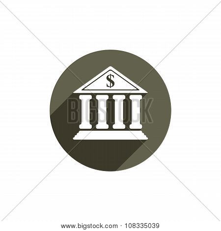 Bank building vector icon isolated on white background