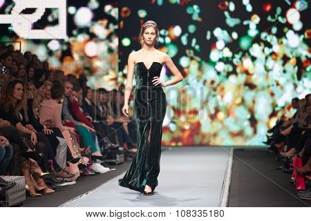 ZAGREB, CROATIA - OCTOBER 31, 2015: Fashion model wearing clothes designed by Boris Banovic on the 'Fashion.hr' fashion show