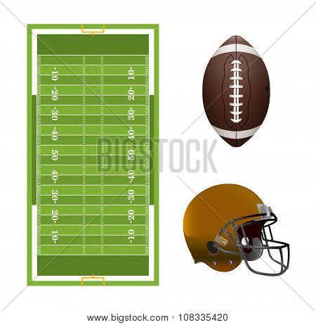 American Football Field, Ball, And Helmet Elements