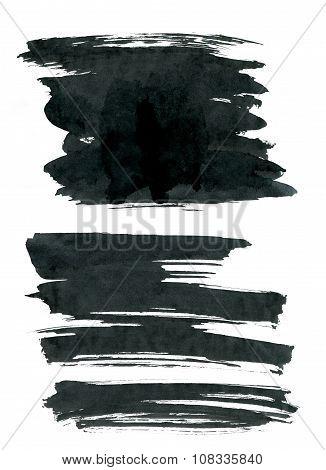 Black ink rectangle shapes isolated on white background.