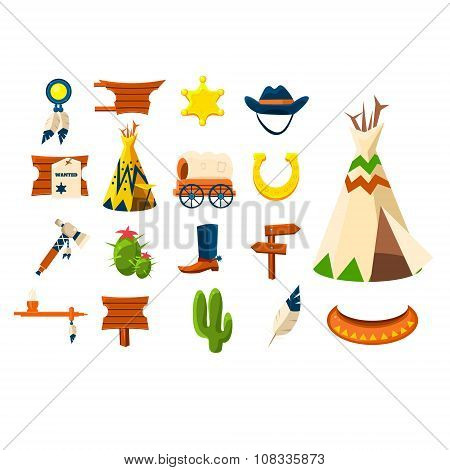 Wild west icons.Vector illustration of cowboy objects