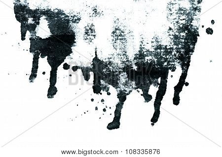 Black ink abstract dripping shape isolated on white background