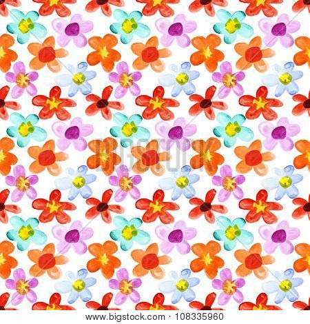Watercolor flowers of different colors - seamless floral background
