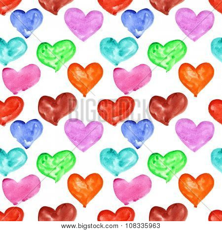 Watercolor hearts- multicolored seamless pattern