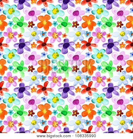 Watercolor flowers - multicoloured seamless background