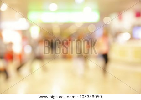 Lights of hall in airport - defocused blured background