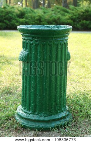 Trash container in park