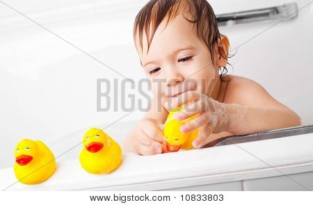 Little Boy Taking A Bath