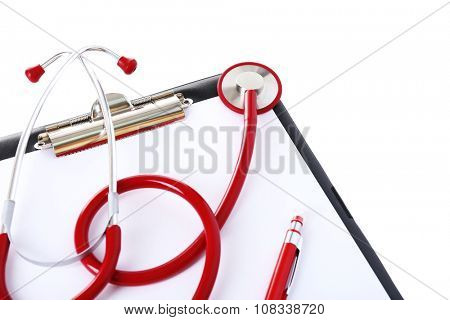 Medical stethoscope with clipboard isolated on white