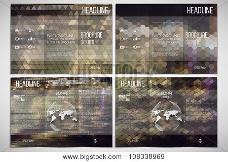 Vector set of tri-fold brochure design template on both sides with world globe element. Night city l