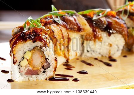 Traditional japanese food. Sushi eel rolls.