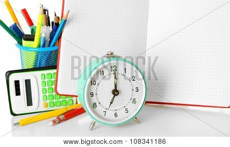 School and office stationary isolated on white