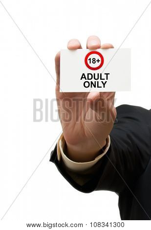 Card adult only with sign