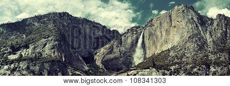 Waterfalls panorama in Yosemite National Park in California