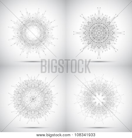 Set of geometric vector form with connected lines and dots for your design
