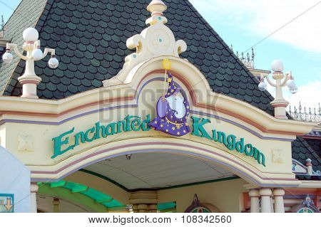 Enchanted Kingdom entrance sign in Laguna, Philippines