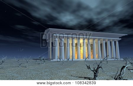 Temple of white with fires